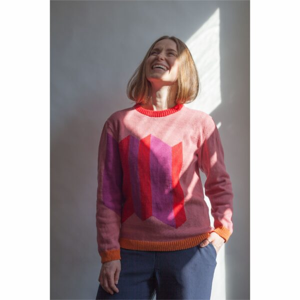 kolorowy sweter z bawełny z recyklingu